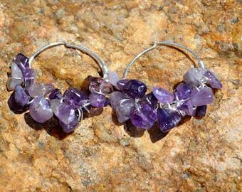 Amethyst and sterling silver wire wrapped hoop earrings, amethyst jewelry, chunky earrings