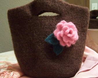Wool Felt Mini Tote - Brown with Needle Felted Pink Rose