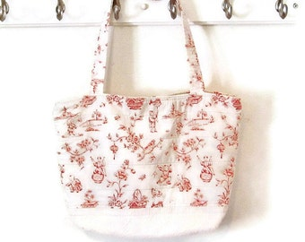 Large bag quilted tote red and white Asian