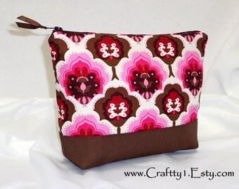 Mod Pink and Brown Motifs - Ladies Zip Pouch (Medium)