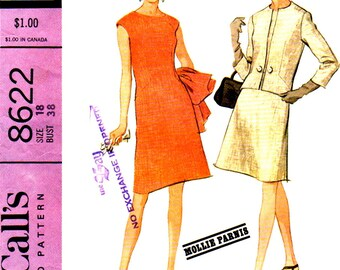 60s McCall's 8622 New York Designers' Collection Plus 1; Mollie Parnis - Misses' Dress and Jacket Sewing Pattern, Size 18, Bust 38""