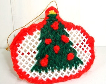 Vintage Needlecraft Christmas Ornament, Christmas Tree Ornament, Red, Green White, Plastic Canvas Craft  (714-13)