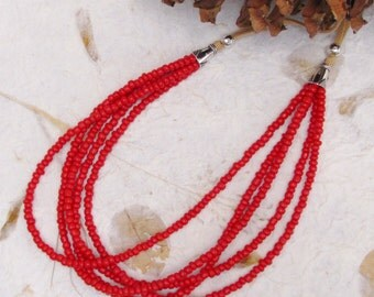 Multistrand Coral Bead Necklace, Hand Beaded Necklace, Silver Detail and Glass Bead Necklace, Suede Cord Necklace