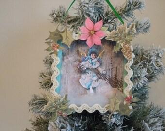 Angel, Ornament, Christmas Ornament, Shadowbox, Shadow Box, Diorama, Victorian, Home Decor, Holiday, Retro, Paper Ornament