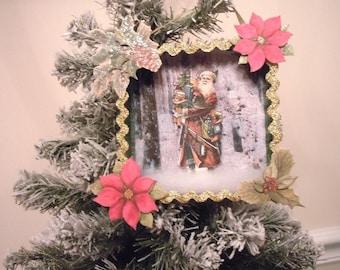 Santa, Santa Claus, Father Christmas, Christmas, Ornament, Shadowbox, Shadow Box, Diorama, Holiday Decor, Victorian, Retro