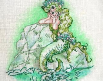 Deep Blue Sea Iron on Hand Embroidery Pattern (original design)