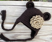 Baby / Toddler / Child Bear Ear Flap Girl Hat in Brown with a Flower