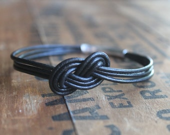 Windsor Knotted Black Leather Bangle with Silver - Lovers Knot Valentines Day Love - Mens Bracelet - Mountain Climber Security Tight Bond