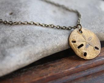 Sanibel Vintage Brass Sand Dollar Pendant on Antique Brass Chain Necklace - Laid Back Surfer Vacation Hippie Boho Chic