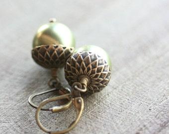 Green Pearl Acorn Earrings, Swarovski Pearls, Acorn Bead Caps,  Antiqued Brass, Acorn Jewelry, Woodland
