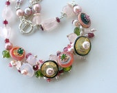 Pearls, Tourmaline, Pink Quartz, Chalcedony, Peridot Jewels and Blooms Statement Necklace