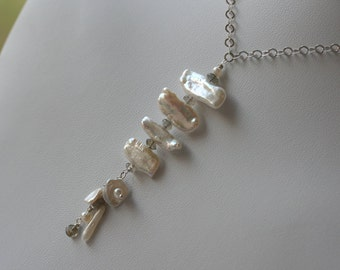 Biwa Pearl Pendant Sterling Necklace Take the Pearl Plunge