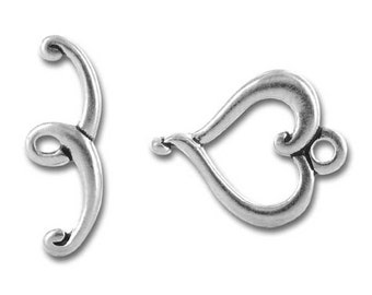 Heart Toggle Clasps Silver Pewter 3 TierraCast