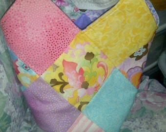 SALE--was 30.00, now 20.00---Charm Pack Tote with Moda Coquette and Benartex Watercolor Garden