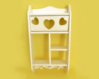 Wooded Ivory Heart Shelf with 3 Pegs