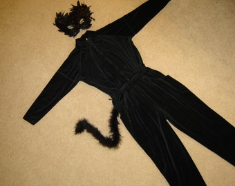 Costume Halloween party black cat womens jumpsuit feather mask  tail sz P M