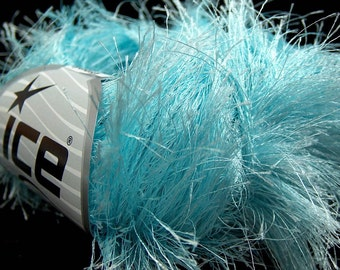 LONG EYELASH light TURQUOISE superbulky chunky 50gr polyester ice yarns usa fancy fur craft rug 1 skein ships from usa at usps cost 14162