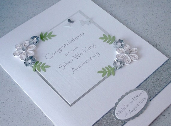 Handmade quilled 25th anniversary card silver wedding for Silver wedding dresses 25th anniversary