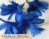 2pcs - BLUE - Flower Plumes - quality millinery supply, feather fascinator