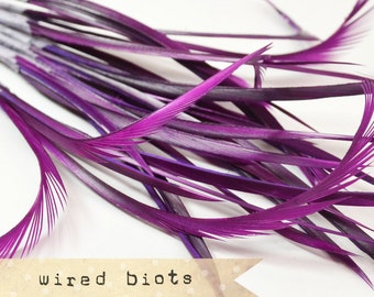 10 bundles - 25-30pcs - PURPLE - Goose Biots on Wire - could be curled - premium millinery supply, fishing supply, fly tying