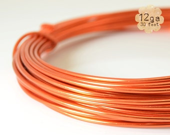 30ft 12ga Aluminum Craft Wire - 12 gauge, 9.2m, wire wrapping, jewelry, crafts, floral designs - ORANGE