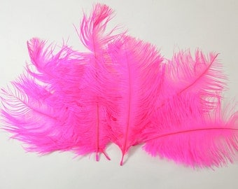 "Petite Ostrich Drab Feathers - Hot Pink, 4-8"" (12pcs)"