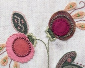 Jacobean Flower Wool Applique, Hand Embroidery / Pattern / Jac 023