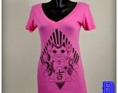 A Lucky Cat (Octopuss) Design on a Deep V-neck Shirt