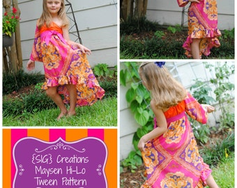 INSTANT Download PDF SIG Maysen Tween Hi-Lo Dress Pattern -Size 6 youth to 14 youth