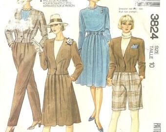McCalls 3824 vintage Jacket pants skirt bermuda shorts sz 10  1988