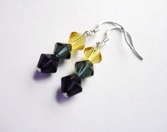 Swarovski Crystal Earrings, Sterling Silver, Wire Wrapped, 6mm, Purple, Montana Blue, Navy, Jonquil, Amethyst, Sparkle, Royalty, Yellow