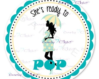 Ready to pop Baby Shower Sticker -Personalized Stickers or Labels for your Favors -Choose Size-