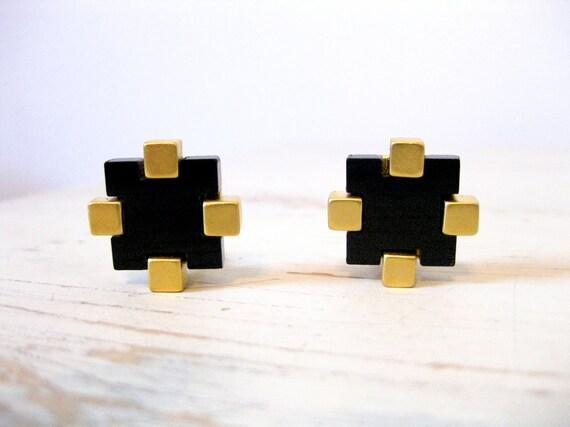 Karl Lagerfeld Black Glass Clip Earrings