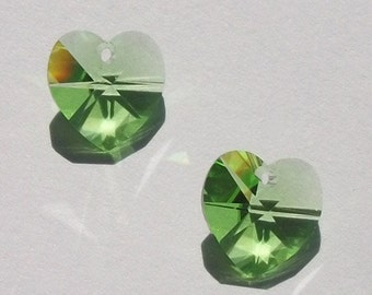 Clearance Sale -- 2 Swarovski heart pendant 14mm crystal HEART Pendant Style 6202 PERIDOT (green)