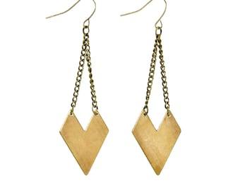Brass Arrowhead Earrings