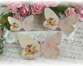 Tea Time Butterfly Die Cut Embellishments for Scrapbooking or Cardmaking, Tag Art,  Mixed Media, Mini Albums