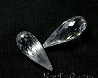 20x8mm Cubic Zirconia CZ Faceted Briolette Tear Drop - Diamond Clear - 1pc