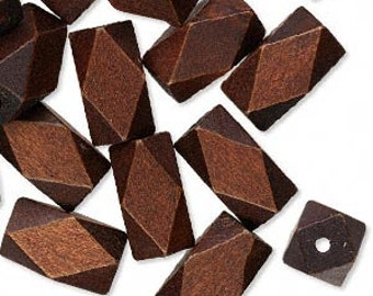 22mm x 13mm dark brown wood faceted tubes, 10 pcs. Kwanzaa, nature, natural, large beads, jungle, cruise, vacation, tropical, satin brown
