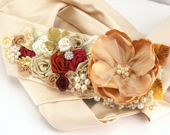 Sash, Gold, Ivory, Tan, Claret, Deep Red, Burnt Orange, Champagne, Wedding Sash, Fall Wedding, Elegant Wedding, Pearls, Brooch, Crystals
