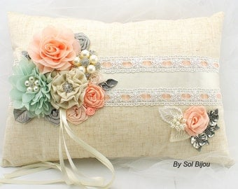 Ring Bearer Pillow, Ivory, Cream, Coral, Peach ,Silver, Mint , Vintage Wedding, Rectangular, Lace, Pearls, Linen, Crystals, Shabby Chic
