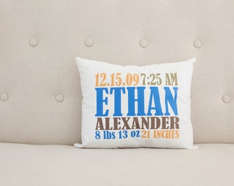 Unique Baby Gift, Birth Announcement, Personalized Baby Pillow, Blue Orange Brown