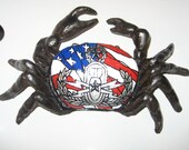 Painted to order Explosive ordnance disposal EOD Master or Sr or Basic Badge and US Flag on a cast wrought iron CRAB