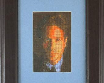 Cross stitched portrait of David Duchovny as Fox Mulder from the X-files