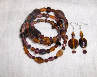 Brown Glass and Ceramic Bead Gypsy Bracelet and Earring Set