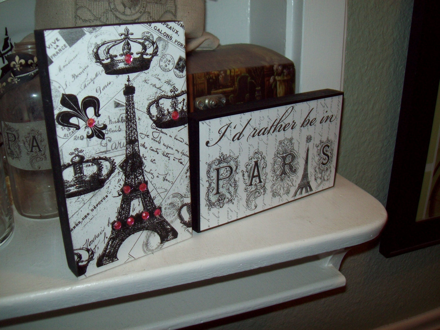 I 39 d rather be in paris sign eiffel tower blockparis - Eiffel tower decor for bedroom ...