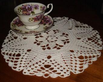 Star Flower Doily 12 inches diameter in White hand crochet table topper centerpiece