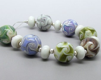 Organic Lampwork Beads, Natural Lampwork Beads, Lampwork Bead Set, UK, SRA, FHFteam
