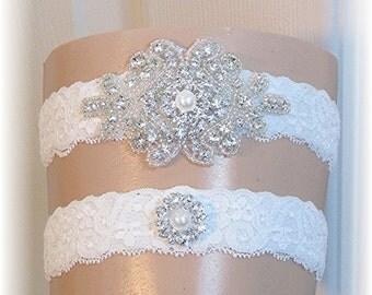 Wedding Garter Set, Bridal Garter Set, Keepsake Garter, Toss Garter, Ivory Lace Garter Set with Crystal and Pearl Embellishments, Garters