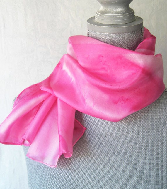 Hand Dyed Silk Scarf in Sweetheart Pinks