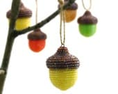 Acorn Christmas Ornament Yellow Beaded Fall Woodland Thanksgiving Holiday Decoration Hostess Gift *READY TO SHIP